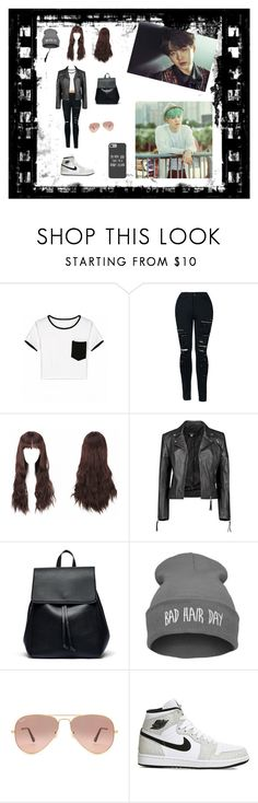 """""""Suga Ideal Type"""" by bulletproof-wolfie on Polyvore featuring Boohoo, Sole Society, Ray-Ban, NIKE and Disney"""