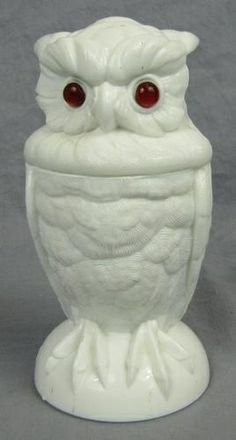 ATTERBURY MILK GLASS OWL FIGURAL JAR With Glass Eyes