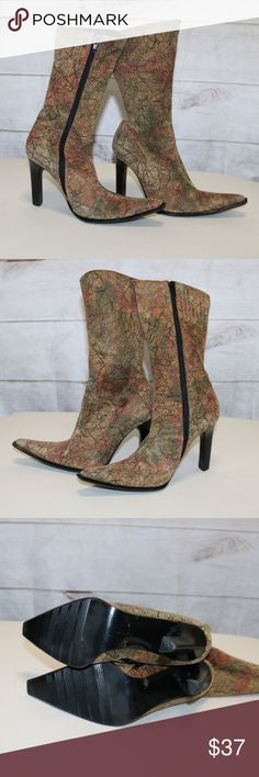 Wild Orchid Fabric boots - 6.5 EUC Unique fabric boots by WIld Orchid Great fall colors in orange, green and golds Size 6.5 WIld Orchid Shoes Heeled Boots