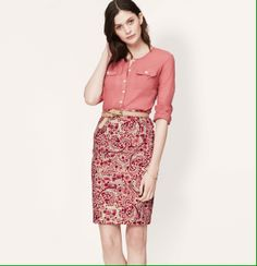 Have this Paisley Pencil Skirt from Loft. Pretty blouse. Should try a belt some time.