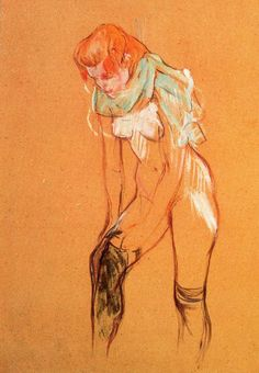Woman Pulling on Her Stockings, 1894. Pastel. Toulouse-Lautrec. Albi.