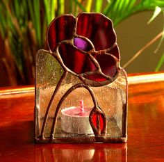 RED POPPIES - Candle Holder - Stained Glass