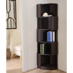 Furniture of America Laina Geometric Espresso 5-Shelf Corner Bookshelf - A simple bookcase is no place to store your autographed copies and rare editions; librophiles will love displaying their most treasured tomes on the F...