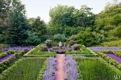 Peter Marino's Lush Horticultural Haven in the Hamptons - The purple garden at the front of architect Peter Marino's Hamptons house is divided into beds ed - Lavender Garden, Purple Garden, Shade Garden, Lavender Plants, Hamptons House, The Hamptons, Formal Gardens, Outdoor Gardens, Landscape Design