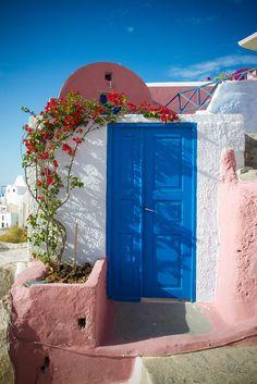 Oia in pink, white + blue, Santorini