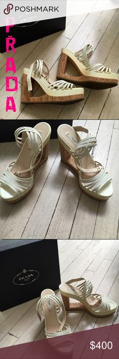 """SALE Prada Vernice Calzature Donna cork heel I'm selling these on behalf of my extreme fashionista sister in law and mother of 2! These are 100% authentic Prada Calazture Donna Vernice heels with a beautiful cork design. These have been worn 1x, are made in Italy and have a 4"""" heel height. These come with the box and are from a smoke-free, pet-free home. Prada Shoes Heels"""