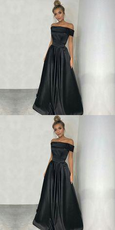 Simple Off Shoulder Long Black Satin Prom Dresses#Promdressesonline#promdresses2018#simplepromdress#blackpromdresses#offshoulderpromdresses#eveningdresses#formaldresses2018