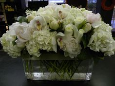 We are high end retail flower shop delivering finest floral arrangements in Alexandria, VA and the greater Washington, DC metropolitan area. Dahlia Centerpiece, White Hydrangea Centerpieces, Wedding Table Centerpieces, Top Table Flowers, Wedding Table Flowers, Beautiful Flower Arrangements, Floral Arrangements, Bridal Games, White Flowers
