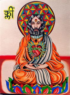 "Yogic Christ . Essence of true Christ consciousness painted on Easter 2012 with love and devotion for the divine cosmic vibration . The symbol is ""Klim"" Krishna's Beeja (seed) syllable to help share in the mystery that Krishna and Christ are one..."
