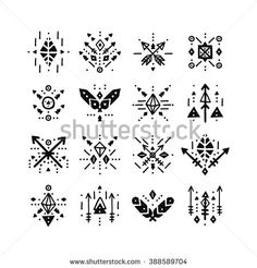 Hand drawn tribal patterns with line, arrow, feathers, decorative elements, geometric symbols Aztec style. Boho logo, hipster shapes