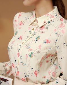 StyleOnme_Feminine Floral Blouse #blouse #feminine #floral #flowery #shirt
