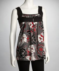 Take a look at this Black & Red Floral-Print Tank by Claudia Richard on #zulily today!