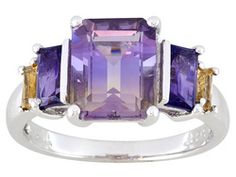 Madiore Ametrine ,Citrine And Amethyst 4.17ctw Sterling Silver Ring