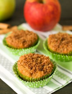 Apple Muffins (grain–free, gluten–free) -  •200 grams (~2 cups) almond flour or almond meal  •¼ cup coconut flour  •½ teaspoon salt  •2 teaspoons baking powder  •½ teaspoon baking soda  •4 teaspoons cinnamon  •½ teaspoon ginger  •½ teaspoon nutmeg  •2 eggs  •2 egg whites (or 1 egg)  •⅔ cup honey  •1½ teaspoons vanilla extract  •½ cup plain Greek yogurt  •1½ cups diced apples