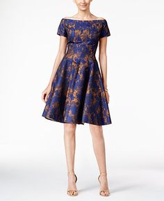 B Michael Off-The-Shoulder Printed Fit & Flare Dress - Dresses - Women - Macy's