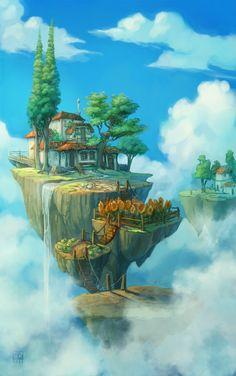 float islands by ~DawnElaineDarkwood on deviantART
