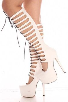 This heel features a lace up design with a back zipper, heel come just under the knee. Has a hidden platform. Platform measures at about 2 inches. Heel measure at about 6 inches. This whole high heel form top to bottom measure at about 20 inch Thigh High Boots, High Heel Boots, Heeled Boots, Shoe Boots, Shoes Heels, Hot Shoes, Pumps, Platform High Heels, Black High Heels