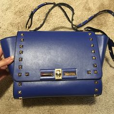 Blue leather shoulder and hand holding bag✨ All leather made with popular blue color and gold metal nail design. Very good condition . I only used one time. Very chic and fashionable  Leather bag Bags Crossbody Bags