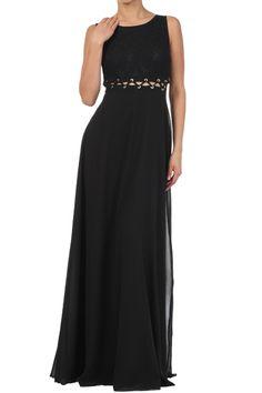 Black Duo Fabric Maxi Dress