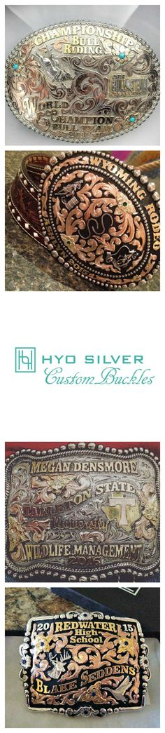 Custom order your own belt buckle! Work with a Hyo Silver Design Associate to finalize your buckle design.  Personalize your belt buckle with initials, company logo, or ranch brand.  A custom buckle makes a for a very special gift to be enjoyed for years to come.  Visit our website at hyosilver.com or call us at 877-796-7961 to place your buckle order!