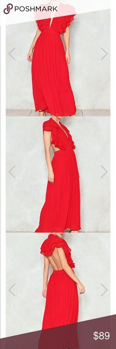 Nasty Gal You Little Devil Maxi Dress chiffon maxi dress with plunging V neckline with ruffle detailing and open back. Sold out online currently. New with tags - I just decided to wear something more casual for my event. Nasty Gal Dresses Maxi