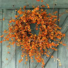 Bittersweet wreath on barn door