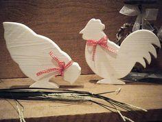 Hahn und Huhn im Shabby Chic ,  Deko,  Dekoration,  by dreamshop, Hahn und Huhn aus Holz im Shabby Chic  Schöne Dekoration im Shabby Chic möchten bei Ihnen ein neues ...