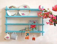 aqua plate rack ;) --cute pop of color...would want it green or purple for my grapevine kitchen