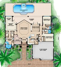 Find your dream mediterranean style house plan such as Plan which is a 2660 sq ft, 3 bed, 2 bath home with 3 garage stalls from Monster House Plans. U Shaped House Plans, U Shaped Houses, Beach House Plans, Country House Plans, Dream House Plans, Modern House Plans, Small House Plans, House Floor Plans, House Plans With Pool