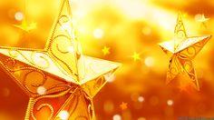 Yellow Christmas Star Ornaments Wallpaper