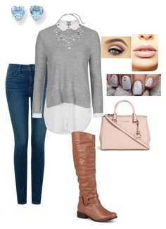 """""""Baby blues and pinks"""" by mymyhearts on Polyvore featuring NYDJ, Topshop, Journee Collection, Chico's, Kevin Jewelers, Michael Kors and LASplash"""