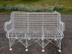Very garden furniture antique iron metal wire patio furniture large bench settee very scarce garden furniture . very garden furniture