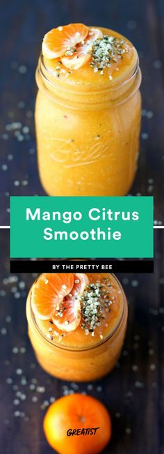 Mango Citrus Smoothie  If you've ever wondered how much orange can fit in one smoothie, this might be the answer. It squeezes in mango, clementine, and orange juice then throws in some red strawberries for good measure. Feel free to add a scoop of protein powder or some nut butter so you don't get a sugar crash.
