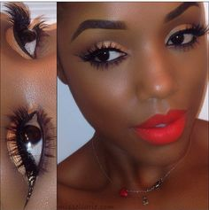 Simple yet beautiful Golden Eyelids and bold red lipstick pop on brown skin. Gorgeous Glamorous and Flawless! Recreate this look with Flawless Face Beauty Airbrush makeup in the Deep Skin Foundation Set, Gold shimmer Eyeshadow, and Farmhouse Red Blush @ http://www.flawlessfacebeauty.com