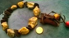 """OOAK- """"Primal Talisman"""" focal leather piece, Big ancient brachiopods fossil beads, hardened leather ooak discs beads"""