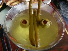Dirty Martini with Pickled Green Beans