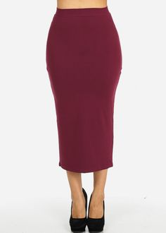 High Waisted Bodycon Maxi Skirt (Burgundy)