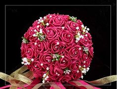 Coeus 30pcs of Rose Hot Pink Roses and Babysbreath Bouquetbridal Wedding Bouquest Bouquetbridal Wedding Bouquest Bouquet Toss Bouquet ** Read more reviews of the product by visiting the link on the image.