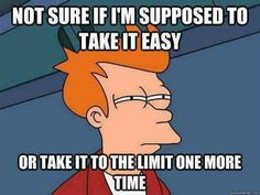 Not sure if I'm supposed to take it easy or take it to the limit one more time. Music Humor, Music Memes, Song Memes, Dance Memes, Funny Music, Music Quotes, Funny Memes, Jokes, That's Hilarious
