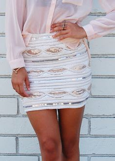 love the skirt with the sheer pink blouse