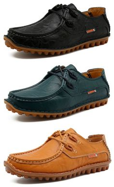 Men Genuine Leather Stitching Boat Shape British Style Lace Up Casual Shoes
