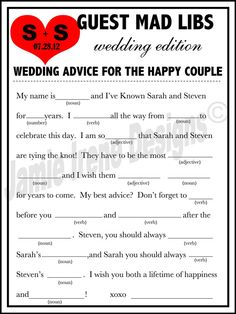 Yikes - These range of these answers would likely provide lots of humor & horror, hahaa... ;)) (Printable Wedding Mad Lib A Fun Guest Book by WeddingsByJamie, $15.00)