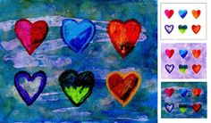 Mixed Media Hearts. Just crayons + rubber cement + watercolors. #valentineart