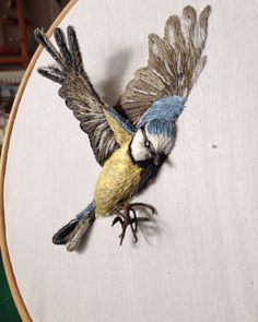 Embroidery Inspiration- – Sarah J Perry – Needle Work Stickerei Inspiration – Sarah J Perry – Nadelarbeit Embroidered Bird, Crewel Embroidery, Ribbon Embroidery, Cross Stitch Embroidery, Embroidery Patterns, Hand Work Embroidery, Butterfly Embroidery, Art Patterns, Modern Embroidery