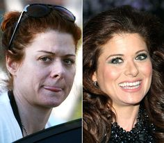 Stars Without Makeup: Debra Messing-with the make-up
