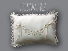 Italian Wedding Ring Pillow Linen Hand embroidered flowers