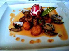 Pork served with clams at Cozhina Velha #Lisbon: http://www.europealacarte.co.uk/blog/2012/04/16/cozinha-velha/