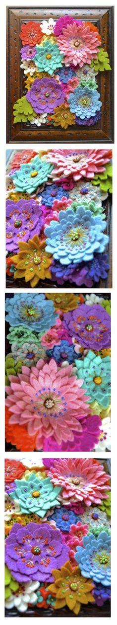 No sé cómo lo llamo. Mi primer cuadro de flores de fieltro.