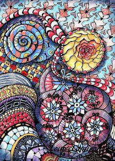Gribouillage Zentangle-like. Oeuvre numérique à partir d'un dessin original sur papier. Juin 2012. © 2012, Louise Lamirande.