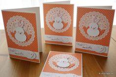 Osterkarte-Ostern-Karte-Osterhase-niedlich-Stanzteile-weiß-lachs-Doily-Perlen-Nase-Herzen-Nest-Faden-Frohe-Ostern-Punkte-Eier-Set-4-Karten